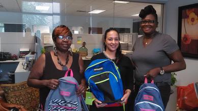 Donating Backpacks to  Guardian Ad Litem-Broward AUG 2015